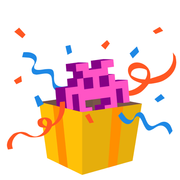 purple Emoji space-invader peeking out of a gift box