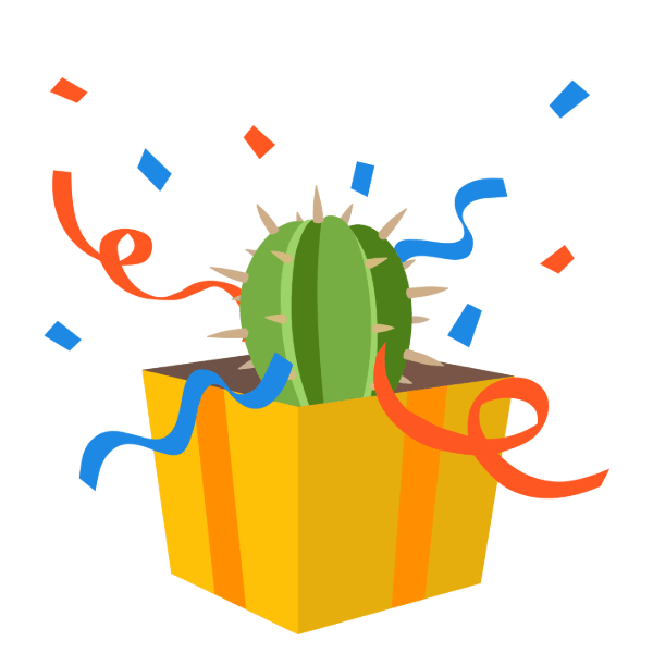 cactus peeking out of a gift box